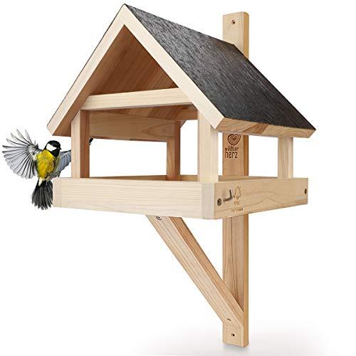 wildtier herz I XL Vogelhaus für die Wand – Wetterfest aus massivem Holz I Wandvogelfutterhaus für Vögel, Vogelfutterhaus zum Aufhängen
