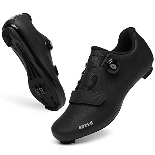 SANYES Men's Cycling Shoes Breathable Road Bike Mountain Bike SPD/SPD-SL Compatible Peloton Bike Indoor Spin Shoes SYQXX-All Black-47