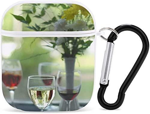 Funda para Airpod Airpods para Apple AirPods 2 y 1 funda para Airpod para niñas, accesorios con llavero (vista cósmica durante la noche), copa de vino blanco con flujo de florero