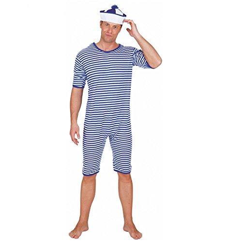 Badeanzug blau weiß geringelt Gr. M Einteiler