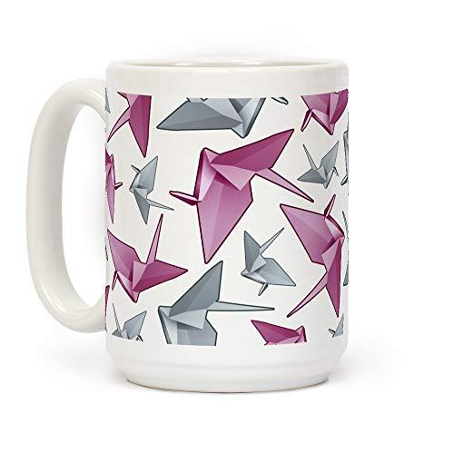 NA Taza de café de cerámica Blanca con grulla de Papel de Origami