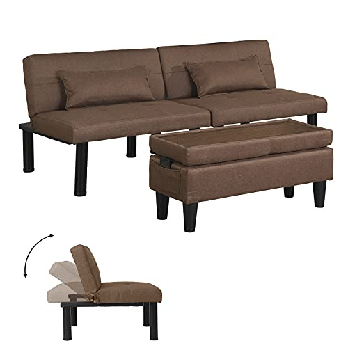 Futon Sofa Bed Tufted Loveseat Futon Couch with Ottoman/Coffee Table, Convertible Folding Recliner Sleeper, Modern Linen Upholstered Small Couches for Small Space, Armless/Metal Legs/Free Pillows