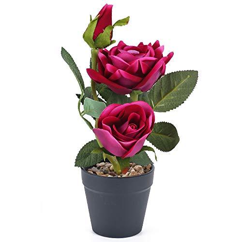 NAHUAA Flores Artificiales Rosa Rojo Púrpura Flor de Plástico en Maceta Rosas Artificiales Decoración Familiar Dormitorio Sala de Estar Balcón Adornos Artesanales