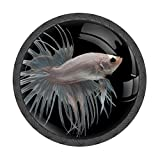 White Crowntail Betta Fish Round Drawer Knobs Cabinet Dresser Pulls Handle Knob 4pcs Kitchen Door Knob Crystal Glass Handles with Screws for Cupboard Home Office Decor
