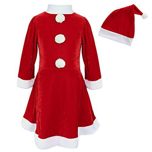 TiaoBug Enfant Fille Déguisement de Noël Rouge Robe de Père Noël avec Chapeau Bonnet de Noël Cosplay Costume de Fête Carnaval Robe de Soirée Cérémonie Anniversaire 3-10 Ans Rouge 6-8 Ans