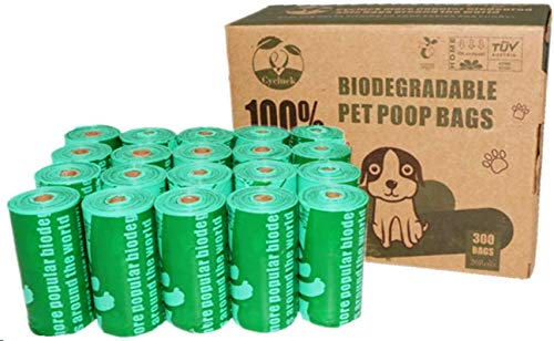 Cycluck 100% Biodegradabili 300 Sacchetti di Cacca di Cane Extra Spesso con Certificazione Europea EN13432 e Home Compost, Sacchetti Compostabili Sacchetti Cane Fatti da Amido di Mais(Verde)