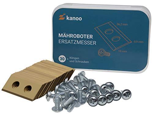 kanoo® Mähroboter Messer, 30x Titan Ersatzmesser für Worx Landroid Rasenroboter - Premium Mäh-Roboter Klingen (0,9mm - 3,4g) Rasenmäher Roboter Ersatzklingen mit verbessertem Konzept