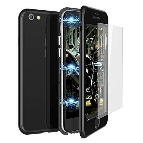 CE-Link Funda iPhone 6 Plus Funda iPhone 6s Plus y Cristal Templado iPhone 6 Plus/iPhone 6s Plus Carcasa 360 Grados 3 en 1 Magnética Macaron Case Protectora - Negro
