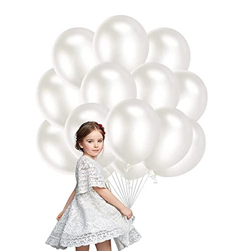 Palloncini Lattice,100 Pezzi 10 Pollici Palloncino Feste Palloncini Compleanno Matrimonio Palloncini Battesimo, per Matrimonio Baby Shower Decorazione Festa di Compleanno (bianca)