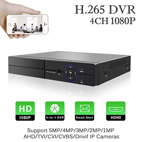 H.265 4 Canales 5M-N 1080P DVR Grabador de Video Digital Aottom 5 in 1 HVR Onvif NVR, AHD/TVI/CVI/IP/CVBS, HDMI, P2P, Onvif, Detección de Movimiento, Email Alarma, Android/iOS App (NO HDD)