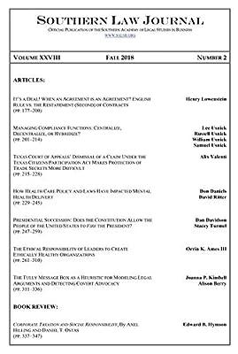 Southern Law Journal, Vol. XXVIII, No. 2, Fall 2018