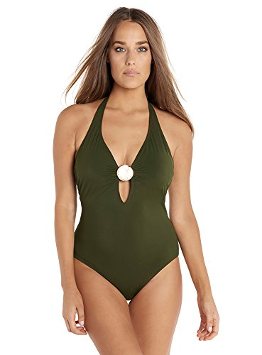 Amoressa Women's Swimwear Laura Mars Bianca One Piece Swimsuit, Olive, 14