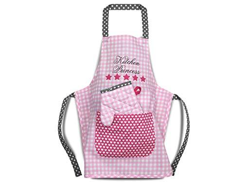 Emily´s Check Kochmütze oder Küchenset für Kinder 468.549, Küchenschürze & Topfhandschuh 3-6 Jahre, Kitchen Princess