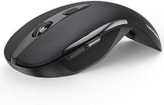 TECKNET Foldable Wireless Mouse, Portable Mini Mouse with USB Receiver, 6 Buttons, Compatible with Laptop,Notebook,Desktop Compute, Black - ماوس لاسلكي قابلة للطي
