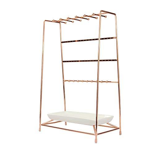 Soporte de joyas de oro rosa con plato de cerámica | Soporte de metal de 4 niveles | Pendientes, collar, pulsera y colgador organizador de anillos | M&W