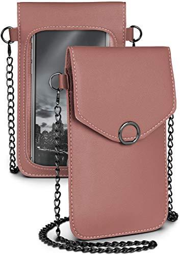 moex Handytasche zum Umhängen für alle Sony Xperia - Kleine Handtasche Damen mit separatem Handyfach und Sichtfenster - Crossbody Tasche, Dunkelgrau