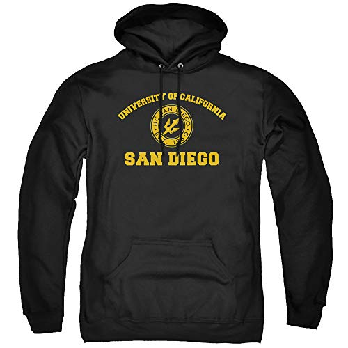 University of California San Diego Official Circle Logo Unisex Adult Pull-Over Hoodie, Black, Large