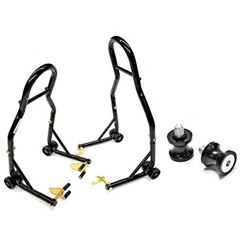 Venom Sport Bike Motorcycle Front & Rear Combo Wheel Lift Stands Fork & Swingarm Stands Paddock Stands + Low Profile 8mm Black Swingarm Spools (Fits Most Honda/Suzuki Bikes)