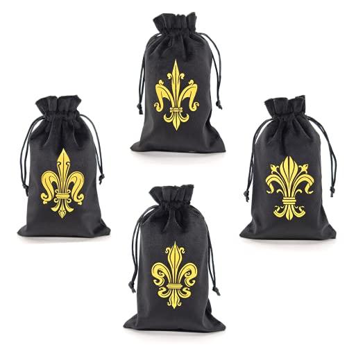 Cekell 4 bolsas de tarot de terciopelo elegantes con símbolos de flor de lis (iris). Bolsas de regalo con cordón para tarjetas Oracle, dados, cristales, joyerías y artículos pequeños.