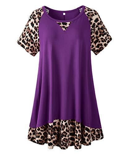 LARACE Leopard Tops For Women Plus Size Tunic Casual Summer Shirts Color Block Short Sleeve T-shirt(Deep Purple 1X)