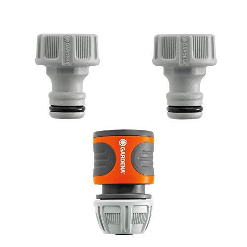 Gardena Anschluss-Satz: Wasserhahnanschluss-Set für 13 mm (1/2 Zoll)- und 15 mm (5/8 Zoll) Wasserschläuche, einfache und werkzeuglose Befestigung (18286-20)
