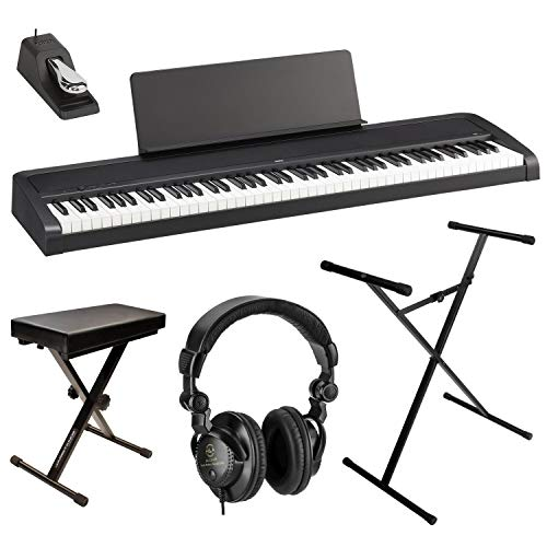 Korg B2 88-Key Digital Piano, Black Bundle with Bench, Stand and H&A Studio Headphones