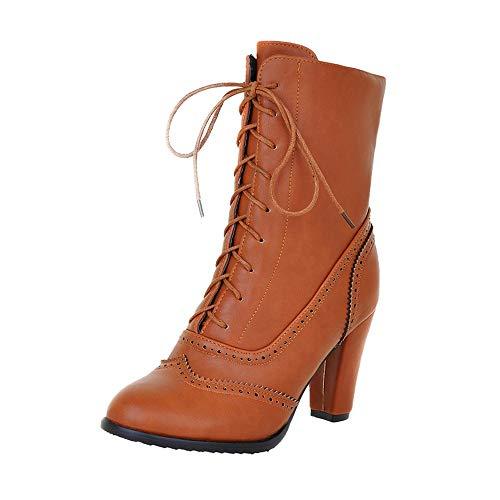 Zapatos de Tacón Alto Botas Mujer Retro Bota Media de Cuero Botas Medias Antideslizantes con Punta Redonda Zapatos con Cordones Mujeres Botas Cortas Beige 35-43 riou
