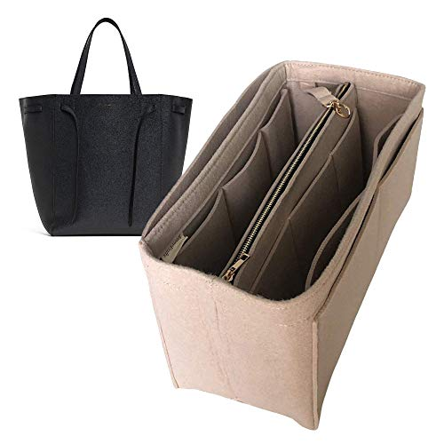 Cabas Phantom M Organizer, Felt Purse Insert Bag Liner Shaper Protector Pouch Tote Organize Handbag (Style B) - Purple