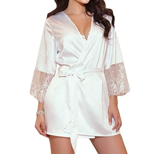 2020 Sommer Seide Spitze Dessous Gürtel Bademantel Frauen Sexy Nachtwäsche Gürtel Bademantel Nachtwäsche Robe Damen-White-1-XL