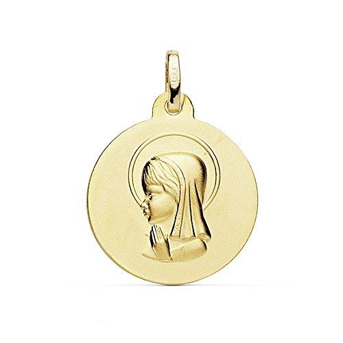 Medalla Oro 18K Virgen Niña 18mm. Mate [Ab8991Gr] - Personalizable - Grabación Incluida En El Precio