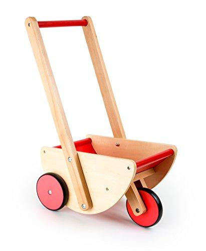 small foot 3 in 1 Puppenwagen, kippsicherer und robuster Lauflernwagen, aus natürlichem Holz mit Gummibereifung