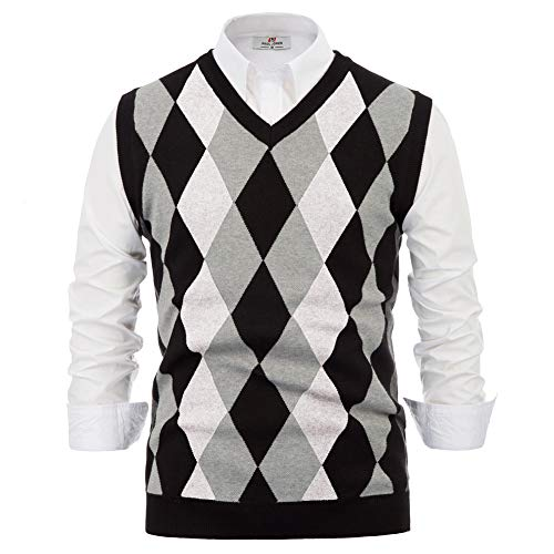 PJ PAUL JONES Mens Casual Slim Fit Sweater Vest V-Neck Golf Vest Argyle Print (XL,White)
