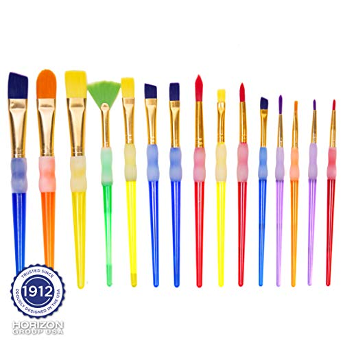 Horizon Group USA E-Z Grip Paint Brushes - 15 All Purpose Easy Grip Paint Brushes, Soft Rubber Grip Handle, Great with Watercolor, Acrylic & Washable Paints. Assorted Multicolored