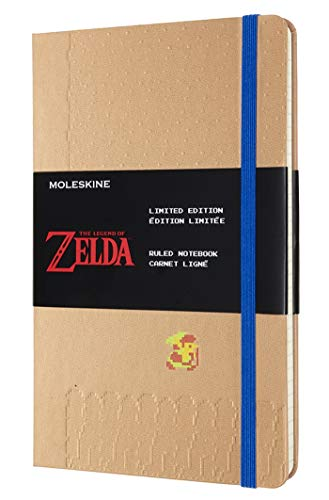 Moleskine - Cuaderno Temático Edición Limitada The Legend of Zelda, Diseño Link, Cuaderno con Hojas de Rayas, Tapa Dura y Gráficos Temáticos, Tamaño Grande 13 x 21 cm, Color Marrón, 240 Páginas