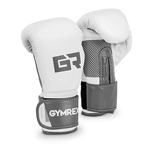 Gymrex GR-BG 10BB Boxhandschuhe Kickboxhandschuhe Boxen Handschuhe 10 oz Mesh innen weiß metallic-hellgrau