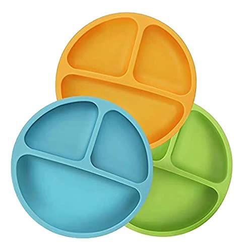 Mungowu Ciotola per Bambini in Silicone con Ventosa, Ventosa Piastra per L'Alimentazione del Bambino Antiribaltamento 3 Giallo, Verde e Blu