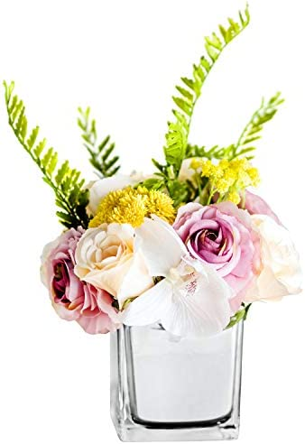 Billibobbi, Artificial Flowers with Vase, Fake Babysbreath Rose with Silver Vase, Faux Flower Arrangements for Home Decor, Silver, Small