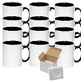 12 Pcs 15oz El Grande Sublimation Blank Two Tone White Black Mugs With Gift Mug Box