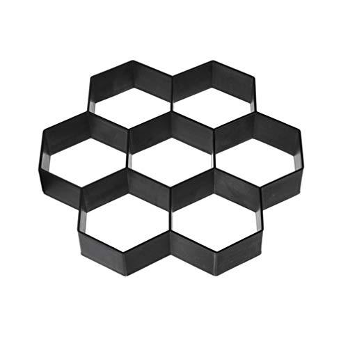 DOITOOL 1 Pezzi Stampo per Vialetto Giardino Stampo Cemento Forma di Esagono Stampo per Pavimento Esterno (Nero,29X28x4cm)