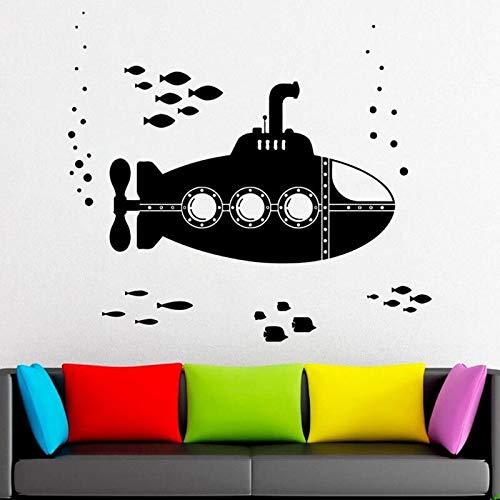 ASFGA U-Boot Wandtattoo Wasser Welt Fisch Schule U-Boot Kunst Vinyl Fenster Aufkleber Kinderzimmer Babyzimmer Marine Stil Schlafzimmer Badezimmer Dekoration 28x30cm