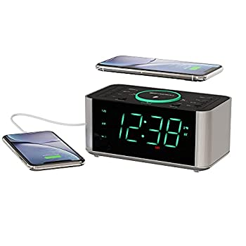 Emerson Alarm Clock Radio and QI Wireless Phone Charger with Bluetooth Compatible with iPhone XS Max/XR/XS/X/8/Plus 10W Galaxy S10/Plus/S10E/S9 All Qi Compatible Phones ER100202
