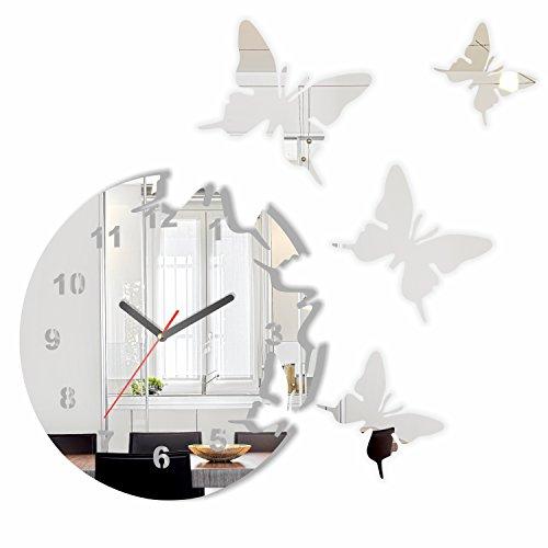 FLEXISTYLE Große Moderne Wanduhr Schmetterling Spiegel rund 30cm, 3D DIY, Wohnzimmer, Schlafzimmer, Kinderzimmer