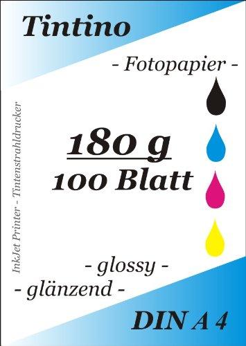 100 Blatt Fotopapier DIN A4 180g/qm high -glossy hoch-glaenzend -sofort trocken -wasserfest-hochweiß-sehr hohe Farbbrillianz, fuer InkJet Drucker Tintenstrahldrucker