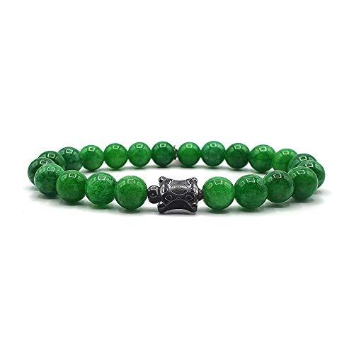 KARDINAL WEIST tortuga jade pulsera, cuentas de piedras preciosas, joyas para hombres y mujeres, chakra - felicidad - salud - yin yang (M)