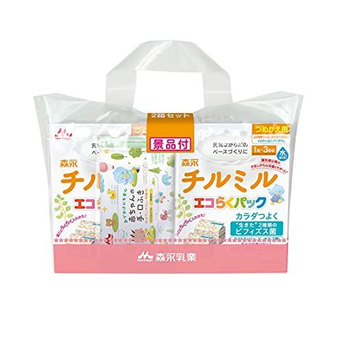 森永 フォローアップミルク チルミル エコらくパック つめかえ用 1600g(400g×2袋×2箱) [1歳頃~3歳頃(満9ヶ月頃からでもご使用いただけます) 入れかえタイプの粉ミルク] 景品つき
