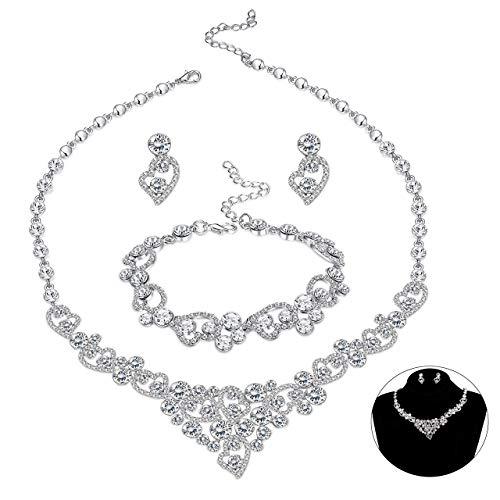 Milacolato Silber-Stein Kristall Herz Braut Brautjungfer Strass Halskette Set Armband baumeln Ohrringe Hochzeit Prom Schmuck Sets