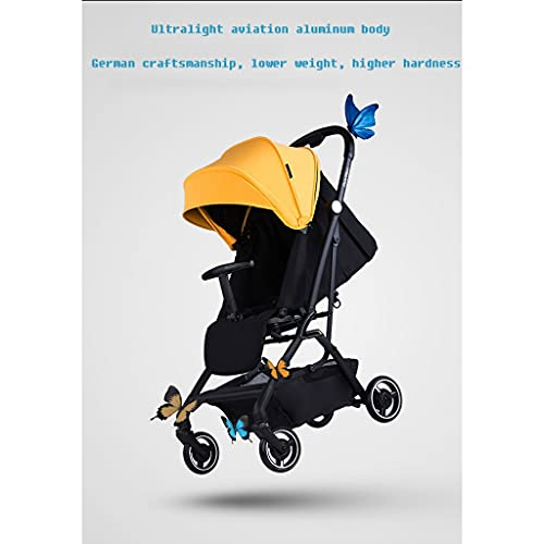 SHOWGG Cochecito de bebé ligero plegable puede sentarse reclinado de dos vías alto paisaje carro niño cochecito de bebé