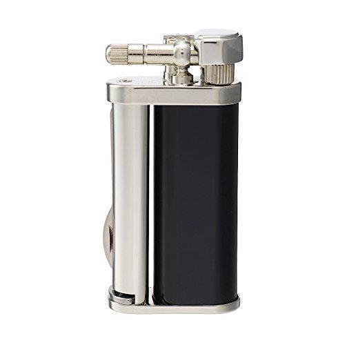 tsubota Pearl Eddie japanischen Premium Pfeifenbesteck Feuerzeug schwarz glänzend Lack Silber Finish