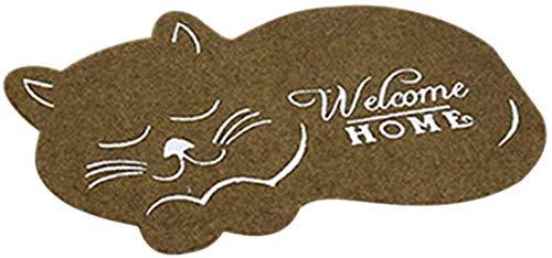 Centeraly Felpudo, Lindo Gato Felpudo Alfombrilla Antideslizante Irregular Animal Impreso Alfombras para Salón Dormitorio Entrada Alfombrilla Baño Cocina Alfombra - Marron, Free Size