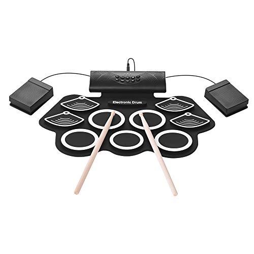 LuYi-Ww Portatile Batteria Elettronica Kit Mano Roll stabiliti del Tamburo 9 Pad Incorporato Altoparlante Stereo con Bacchette Pedale giocabile DTX con Altoparlanti